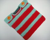 NANOOS BOUTIQUE Funky Baby Tank Top Minty Turquoise and Red baby vest 6-9 months