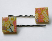 Set of 2 floral chiyogami paper  scrabble tile bobby pins