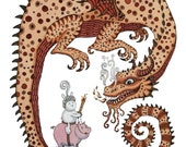 Bunny Rabbit Knight Dragon Art-George Print