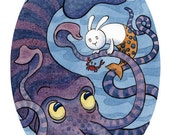 Blue Squid and Merbunny Limited Edition Art Print