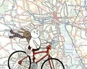 Providence Map Bicycle Bunnies Art Print