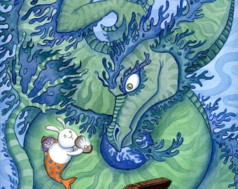 "Sea Dragon and Merbunny Art Print- The Bargain 16"" x 20"""