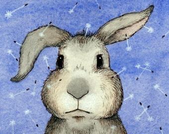 "Clover - Rabbit Bunny Dandelion Art Blue 11"" x 14"""