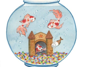 Fish Bowl Goldfish Merbunny Art Print -The Visit
