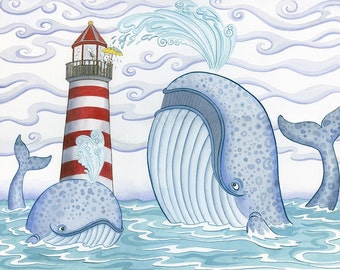 "Red Lighthouse Whales Cape Cod 11""x 14"" Art Print"