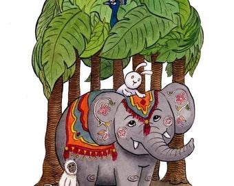 Trip to India - Rabbit Bunny Elephant Travel Art Print