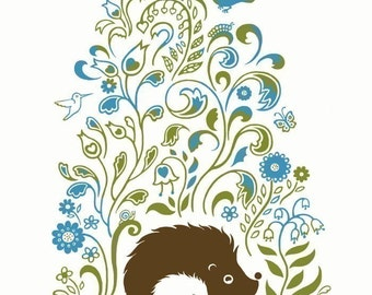 "Hedgehog Spring Print Art  8"" x 10"""