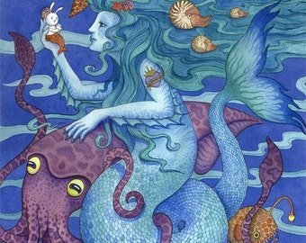Mermaid art print ocean sealife illustration