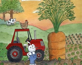 Farmer Bunny and Giant Carrot Art Print