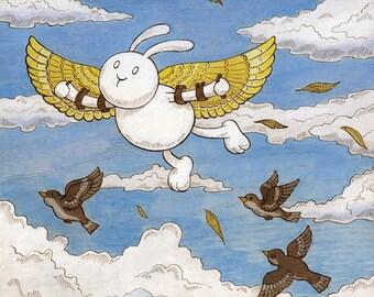 """Icarus Art Print Flying Bunny 8"""" x 10"""""""