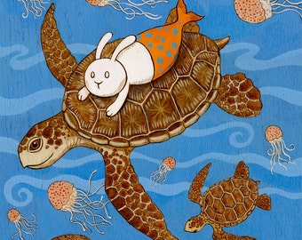 The hitchhiker Sea Turtle merbunny Art Print