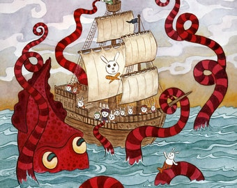 "Kraken Giant Squid Pirate Ship Art Print 8""x 10"""