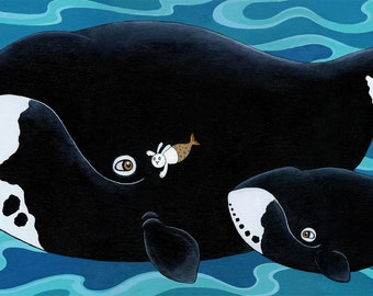 "Bowhead Whale and Merbunny Art Print The Secret 16"" x 20"""
