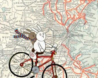 "Boston Map Bicycle Bunnies Art Print 11"" x 14"""