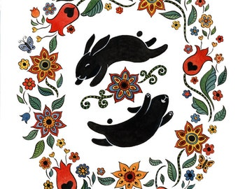 "Happy Black Bunnies Floral Art Print 11"" x 14"""