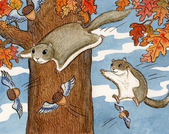 "Flying Squirrel Acorn Art Print 11"" x 14"" Nutty Flyers"