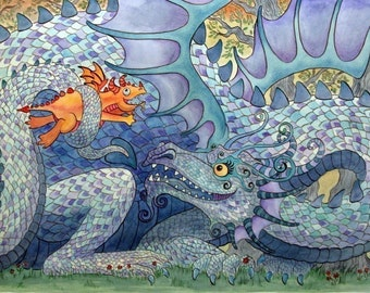 "Blue Dragon & Baby Art Print Wheee 11""x14"""