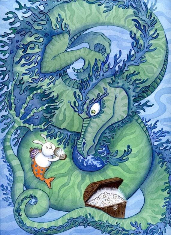 "Green Sea Dragon and Merbunny 11"" x 14"" Art Print"