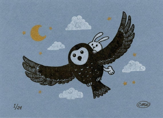 Owl and Bunny Gocco Print Blue - The Passenger