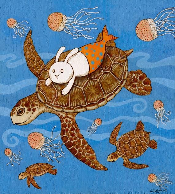 The hitchhiker Sea Turtle merbunny Art Print