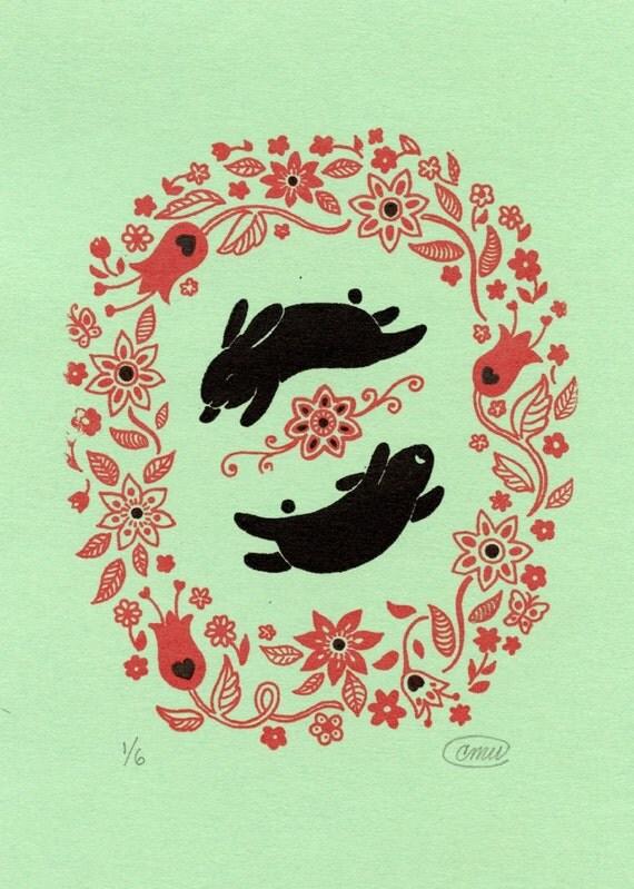 Happy Rabbits Green Gocco Print