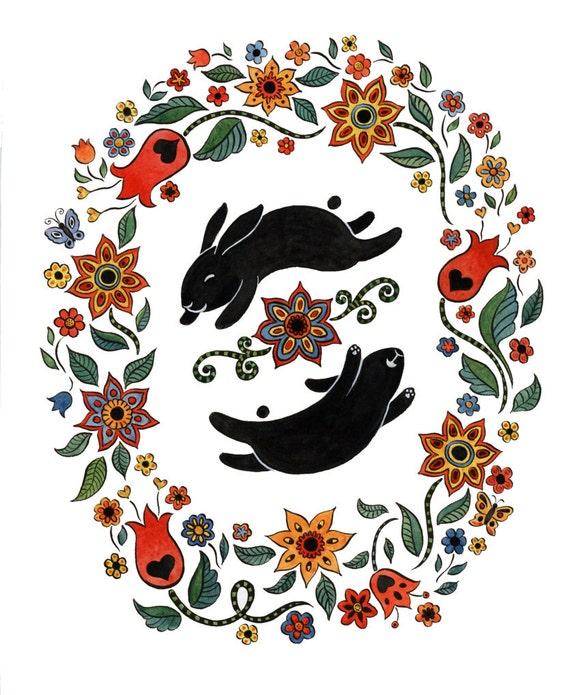 "Happy Black Bunnies Floral Art Print 8"" x10"""