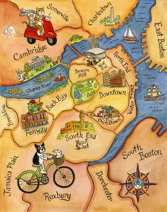 "Boston Map Art Illustration Print 8""x 10"""