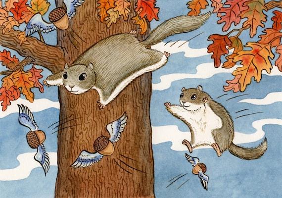 """Flying Squirrel Acorn Art Print 11"""" x 14"""" Nutty Flyers"""