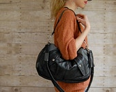 SALE... Black and Gray Furrow Reclaimed Leather Bag