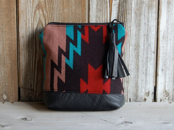Sale... NAVAJO - leather and printed fabric pouch