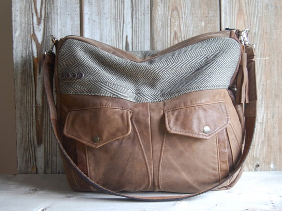 Large Brown Matte Leather Laptop or Overnight Bag