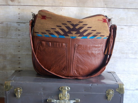 Aztec Navajo Camel Brown Leather Tundra laptop overnight bag