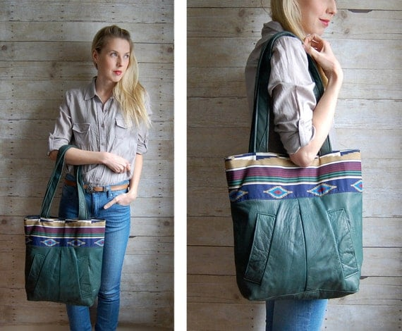 SALE Navajo Market Tote - Green reclaimed leather