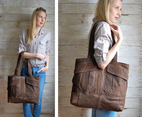 SALE Market Tote - brown reclaimed leather