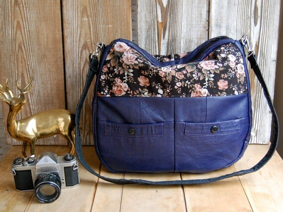 Tundra in purple leather and blossom floral fabric
