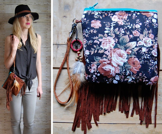 Two-Sided Boho Fringe pouch with blossom fabric and dreamcatcher