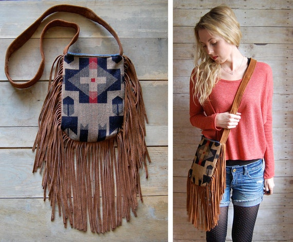SALE ///  Two-sided navajo suede brown fringe bohemian navajo bag