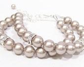 Platinum Double Strand Bracelet w/ Rhinestones, toasted brioche bridesmaid jewelry, mercury, stormy, silver mist, carbon, aluminum, fawn