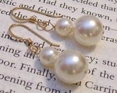 Ivory Pearl Drop Wedding Earrings, Classic Bridal Earrings, Bridesmaid Jewelry, cream earrings, butter, off white, diamond white, neutral