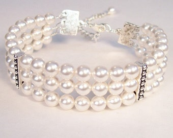 White Pearl Cuff Wedding Bracelet, Three Stranded Bridal Jewelry, Fitted Bracelet, chunky, diamond white, soft white, snow, pure neutral