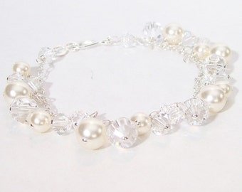 Cream & Crystal Bridal Bracelet with Pearls and crystals, Dangle Chandelier Cluster Wedding Bracelet, ivory, off white, diamond white