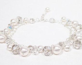 White & Silver Wedding Bracelet, Cluster Bridal Jewelry, Silver Weddings, Gray Bridesmaids, Grey Jewelry, charcoal, diamond white