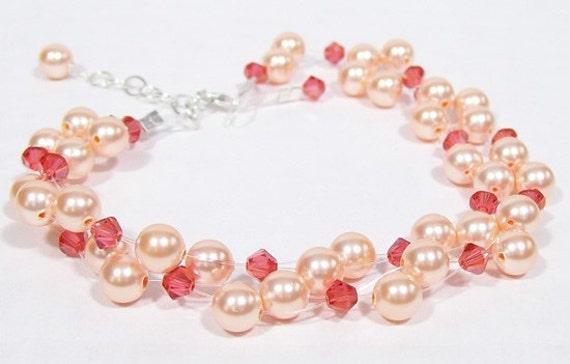 Peach & Coral 2 Strand blush Pearl Crystal Bracelet, salmon, tangelo, bridesmaid, illusion, floating, tangerine, poppy, papaya, persimmon
