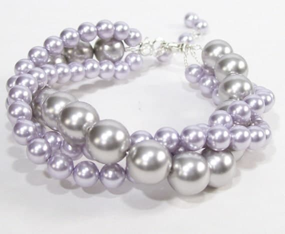 Light Grey & Lavender Bridesmaid Bracelet, Silver and Purple Twisted Pearl Bridal Jewelry, Wedding Chunky, violet, purple, mercury, gray