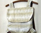 Backpack - white with gold detail and brown linen lining