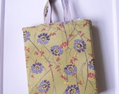 Wildflower and Natural Linen Tote