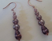 Elegant purple toned earrings --- Touches of copper --- Dangle