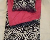 Handmade Sleeping Bag Zebra Hot Pink fits 18 inch Doll Like American Girl