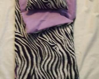 Handmade Sleeping Bag (Purple/Zebra) fits 18 inch Doll Like American Girl