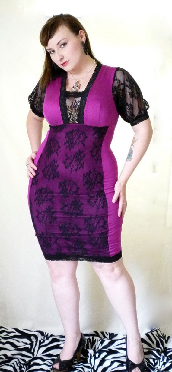 Purple and Black Lace Panel Dress Clearance